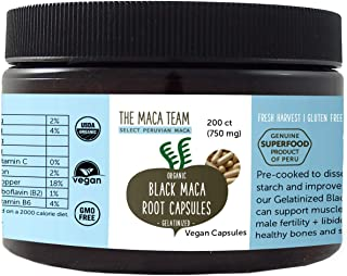 Gelatinized Black Maca Root Capsules - Certified Organic, Fresh Harvest from Peru, Fair Trade, GMO-Free, Gluten Free and Vegan - 750 Mg, 200 Ct