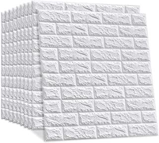 LEISIME 20 PCS - 116 Sq Ft 3D Wall Sticker Self-Adhesive Wall Panels Waterproof PE Foam White Wallpaper for Living Room TV...