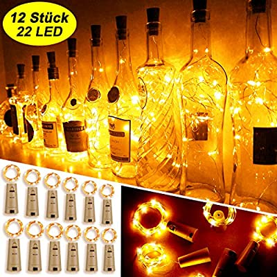Mr.Twinklelight® Wine Bottle Lights,12 Pack 2.2M 22LEDs Fairy Lights Battery Operated with Cork Copper Wire String Lights, for DIY, Party, Decor, Christmas, Halloween, Wedding(Warm White)