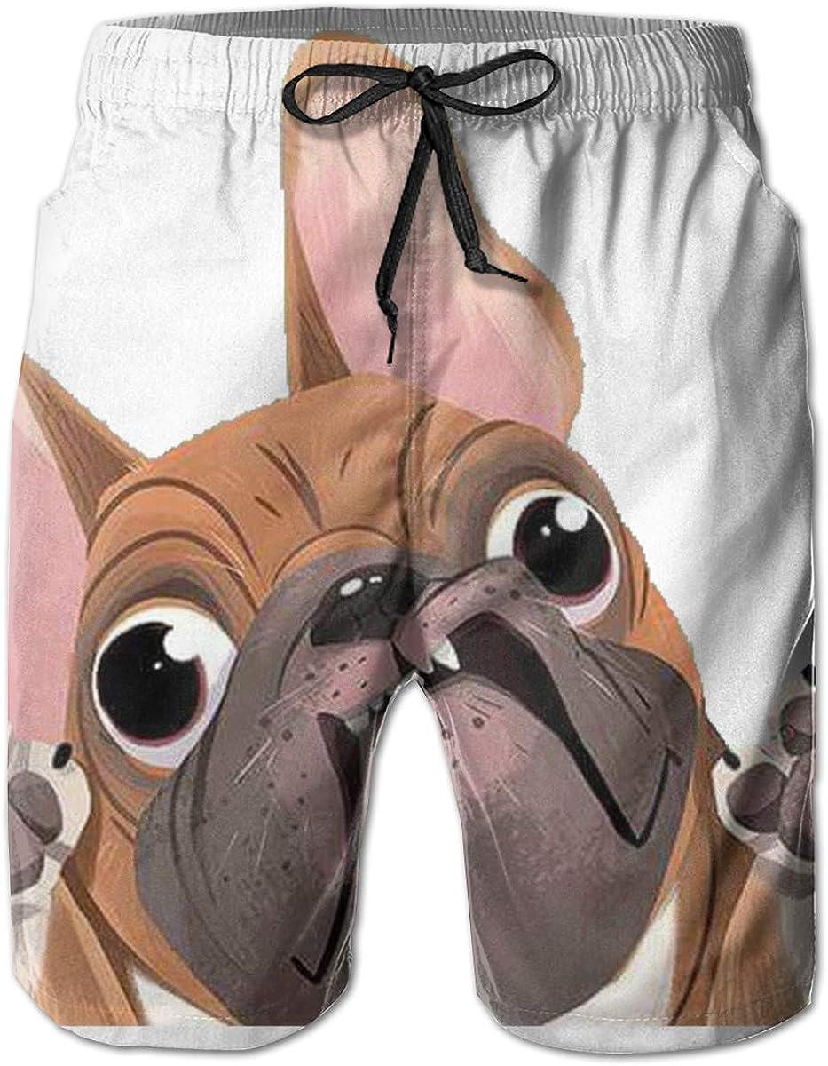 HZamora_H Men Bulldog Terrier Dog Funny Summer Breathable Quick-Drying Swim Trunks Beach Shorts Board Shorts XL
