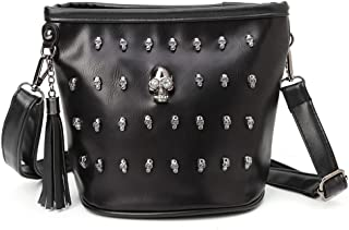 Best-topshop Shoulder Bag with Zipper for Women Girls, Skull Rhinestone Leather Travel Camp Casual Crossbody Bag Pouch Purse for Shopping Party School Outdoor