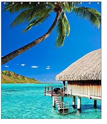 Tropical Summer Beach Fabric Shower Curtain (House Beach)