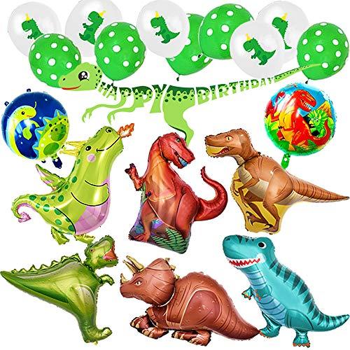Globo Dinosaurio de Decoración para Fiesta,Paquete Completo incluye Dinosaurios Grande x8 más Pelotas Dinosaurios x10 y Un Chulo Happy Birthday Dino Banner,Regalo Ideal para Decorar Un Cumple