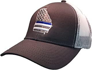 Trenz Shirt Company American Flag Blue Line Embroidered Trucker Mesh Hat