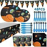 Fiesta de cumpleaños BETOY 48PCS Outer Space Planet Vajilla Fiesta Conjunto de Suministros Mantel Platos Servilletas Pancartas Tazas Utensilios para Niños Cumpleaños Niñas
