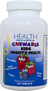 Kids Mighty-Multi (120 Tablets) – Chewable Multivitamin – Purest Non-GMO Ingredients, No Sugar or Artificial Ingredients –...