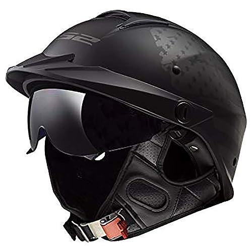 Vintage German Style Motorcycle Biker Skull Novelty Half Helmet Skid Lid FLAT