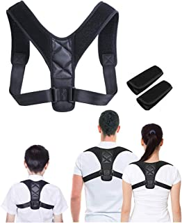 FOOKANN Adjustable Posture Corrector for Men, Women & Children, Invisible Back Support Belt with Shoulder Pads, Black