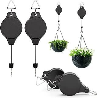 4Pcs Plant Pulley Hanging Basket Hooks, Retractable Pulley Plant Hanger Hanging Flower Basket Hook Hanger Hanging Ferns, Garden Baskets Pots, Birds Feeder Indoor Outdoor Decoration