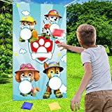 NIDEZON Paw Patrol Toss Games with 4 Bean Bags, Paw Patrol Party Games Fun Indoor Outdoor Games,Birthday Party Decoration Supplies
