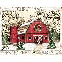 """LANG - """"Evergreen Farm"""" 箱入りクリスマスカード スーザン・ウィンゲット アートワーク 18枚 封筒19枚 5.375インチ x 6.875インチ"""