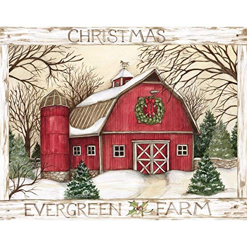 """LANG - """"Evergreen Farm"""", Boxed Christmas Cards, Artwork by Susan Winget"""" - 18 Cards, 19 envelopes - 5.375"""" x 6.875"""""""