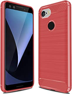 Google Pixel 3 Case,Pixel 3 Case, Sucnakp TPU Shock Absorption Technology Raised Bezels Protective Case Cover for Google Pixel 3 Case (New red)