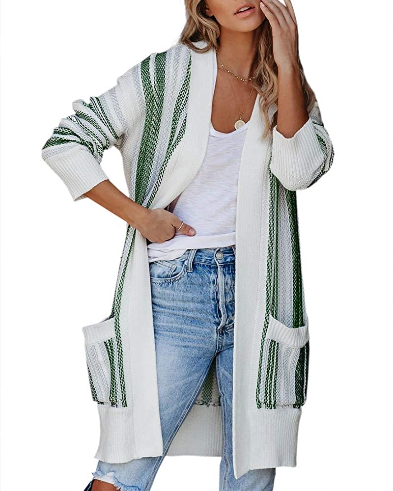 Foshow Womens Striped Open Front Cardigans Oversized Long Sleeve Sweater Casual Loose Color Block Outwear with Pockets