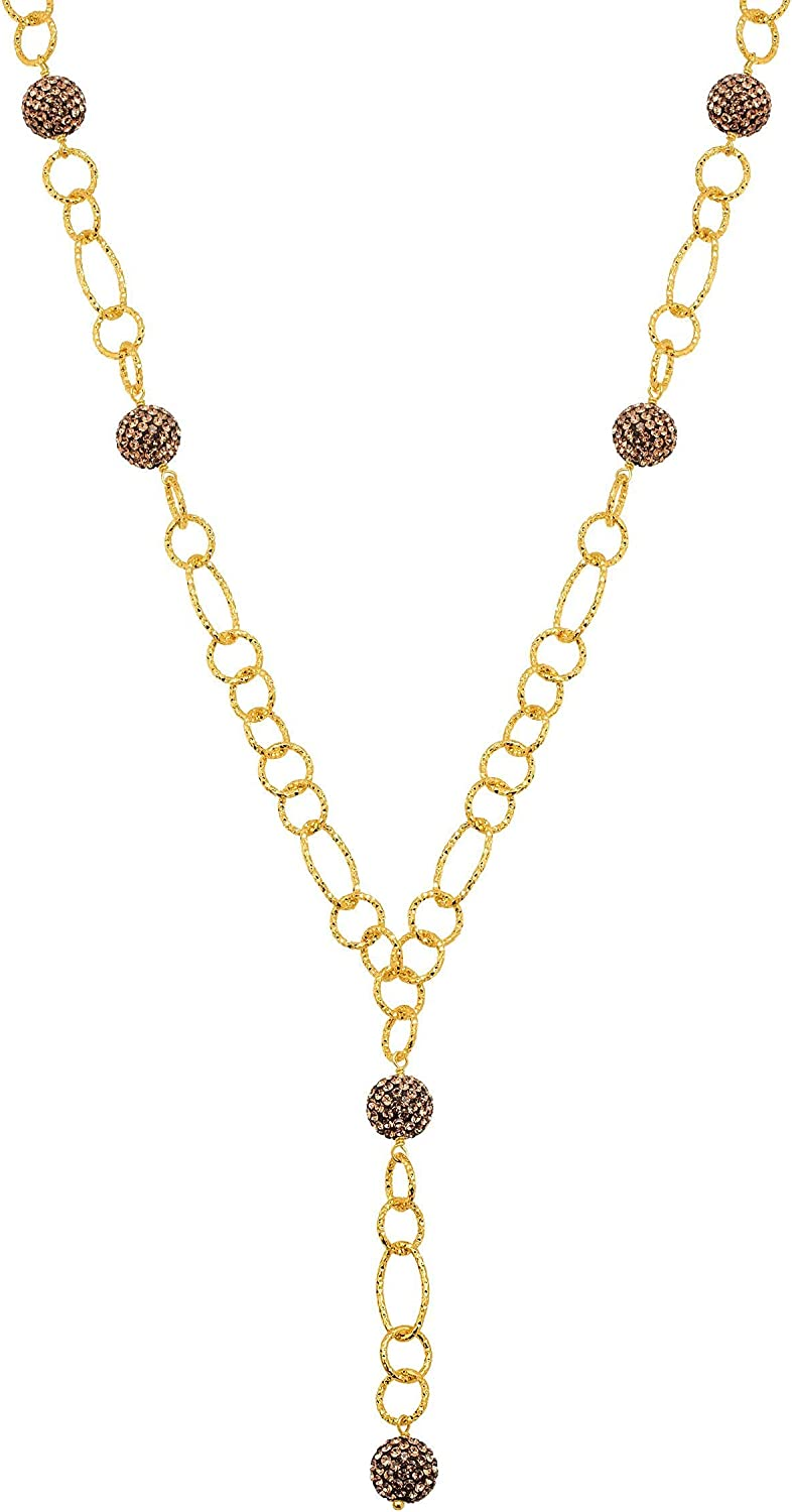 Crystaluxe Beaded Lariat Necklace with Brown Crystals in Gold-Over Bronze, 22