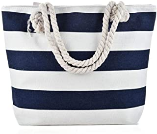 Large Canvas Shoulder Bag - Beach Tote with Cotton Rope Handles