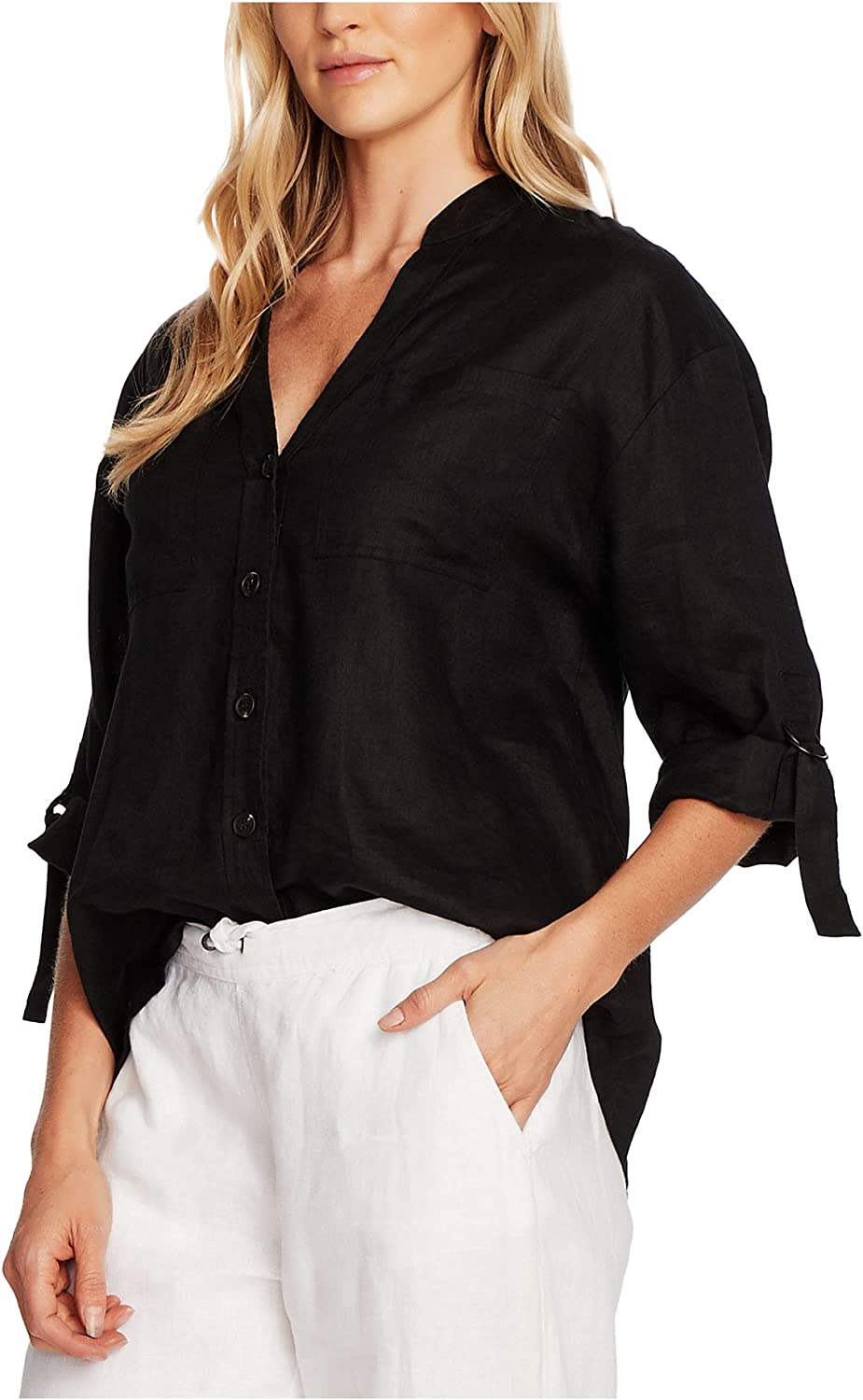 Vince Camuto Women's Roll Sleeve Two Pocket Button Down Blouse