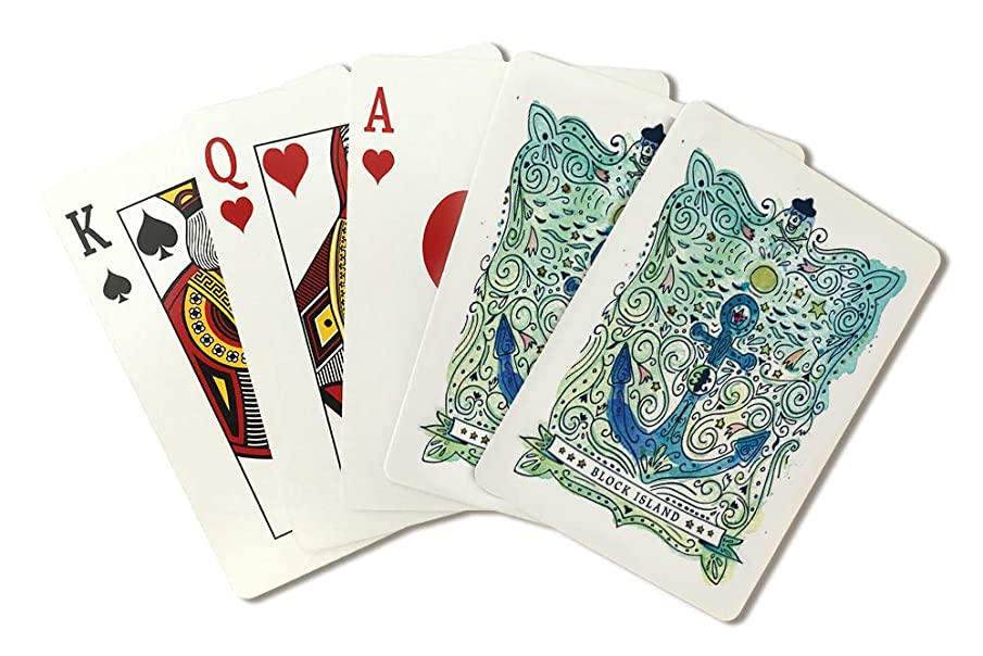 Block Island, Rhode Island - Watercolor - Nautical Art 98020 (Playing Card Deck - 52 Card Poker Size with Jokers)