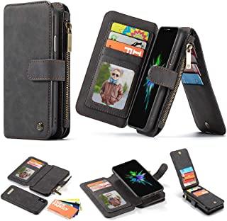 iPhone XR Detachable Leather Wallet Case,JEEFHE Purse with Zipper Pocket Card Slots Credit Holder Kickstand Stand Wrist Strap Removable Slim Back Cover for Apple iPhone XR 6.1(007-Black, iPhone XR)