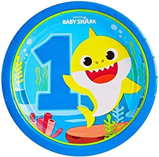 Amscan Baby Shark Round Paper Plates 7in, 8pcs