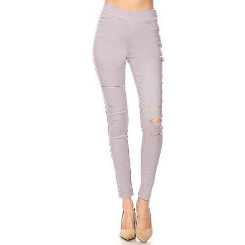 bc598f72116d6 Jvini Women's Pull-On Ripped Distressed Stretch Legging Pants Denim Jean  Reg-Plus Size