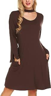 Women's Loose Fit Swing Midi T Shirt Dress
