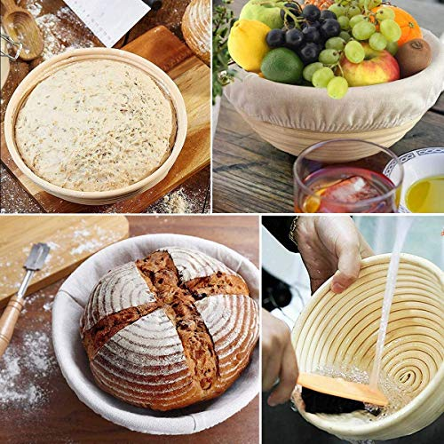 10' Round Bread Banneton Proofing Basket for Sourdough, Rising Dough Baking Bowl Kit, Gifts for Artisan Bread Making Starter, Includes Linen Liner, Metal Dough Scraper, Scoring Lame & Case, 5 Blades