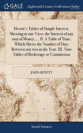 Hewitt's Tables of Simple Interest. Shewing at one View, the Interest of any sum of Money, ... II. A Table of Time, Which Shews the Number of Days ... III. Nine Tables of Brokerage or Commission