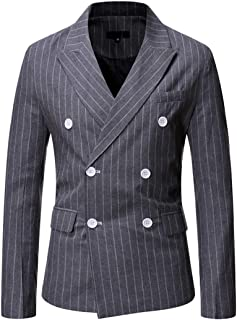 Mens Classic Fitted Double Breasted Blazer Buttons Vintage Jacket Elegant Stripe Wedding Blazers Men's Business Blazer Jac...