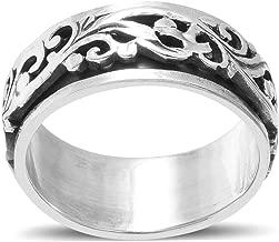 Mens Moon Star Spinner Statement Ring 925 Sterling Silver Boho Handmade Jewelry for Women