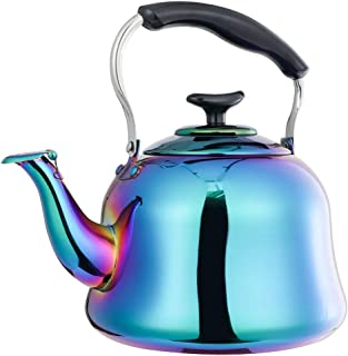 OMGard Whistling Tea Kettle for Stovetop Rainbow 2 Liter Stainless Steel Teapot Colorful Teakettle Induction Cooktop, Gas Stove Top Boiling Water Tea Pot Modern 2.1 Quart, 68 Ounce, 8 Cups Multicolor