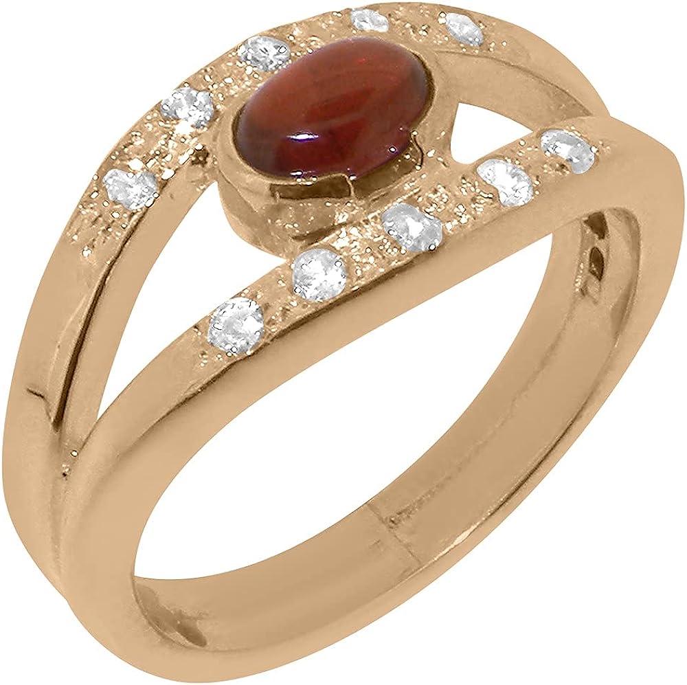 10k Rose Gold Natural Garnet Diamond Band Super-cheap Ranking TOP11 Ring - 4 Womens Sizes