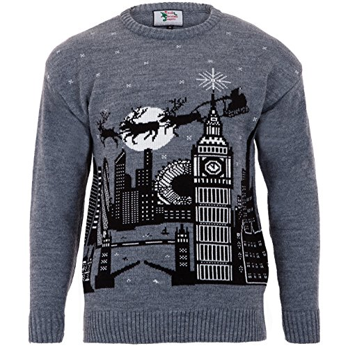 British Christmas Jumpers in London-Mens Christmas Jumper, Pull Homme, Gris (Grey), (Taille Fabricant: Large)