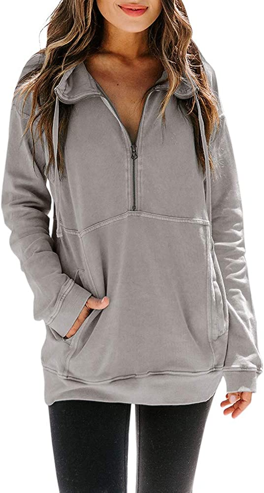 CCBSTS Womens Quarter Zip Sweatshirts Long Sleeve Solid Color Oversized Casual Pullover Tunics with Pockets