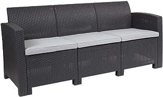 Flash Furniture Dark Gray Faux Rattan Sofa with...