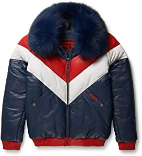 Leather V-Bomber Jacket Red White Blue with Blue Fox Fur
