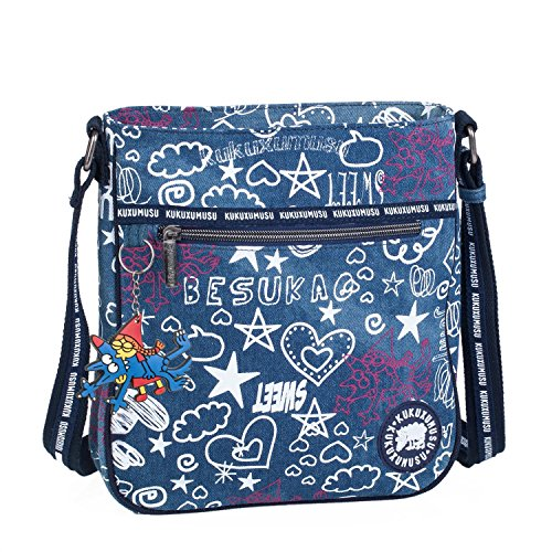 KUKUXUMUSU - Bolso pequeño de Mujer Tipo Bandolera. Lona Estampada. practico y cómodo para Diario. Calidad y diseño Original. Infantil y Juvenil. Incluye Llavero. 93725, Color Azul