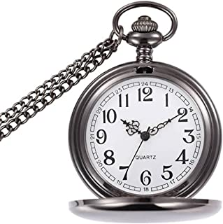 WIOR Classic Smooth Vintage Pocket Watch Silver Steel Mens Watch with 14 in Chain for Xmas Fathers Day Gift