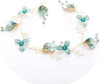 Handmade Blue Wedding Flower Hair Vine Pearl Headbands Tiaras Noble Bridal Headdress Hair Ornament Hair Jewelry Cute Hair Band
