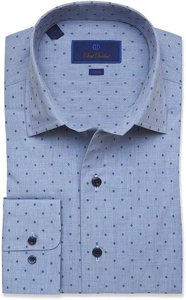 David Donahue Mens Trim Fit Long Sleeve Fusion Dot Dress Shirt, Denim Blue