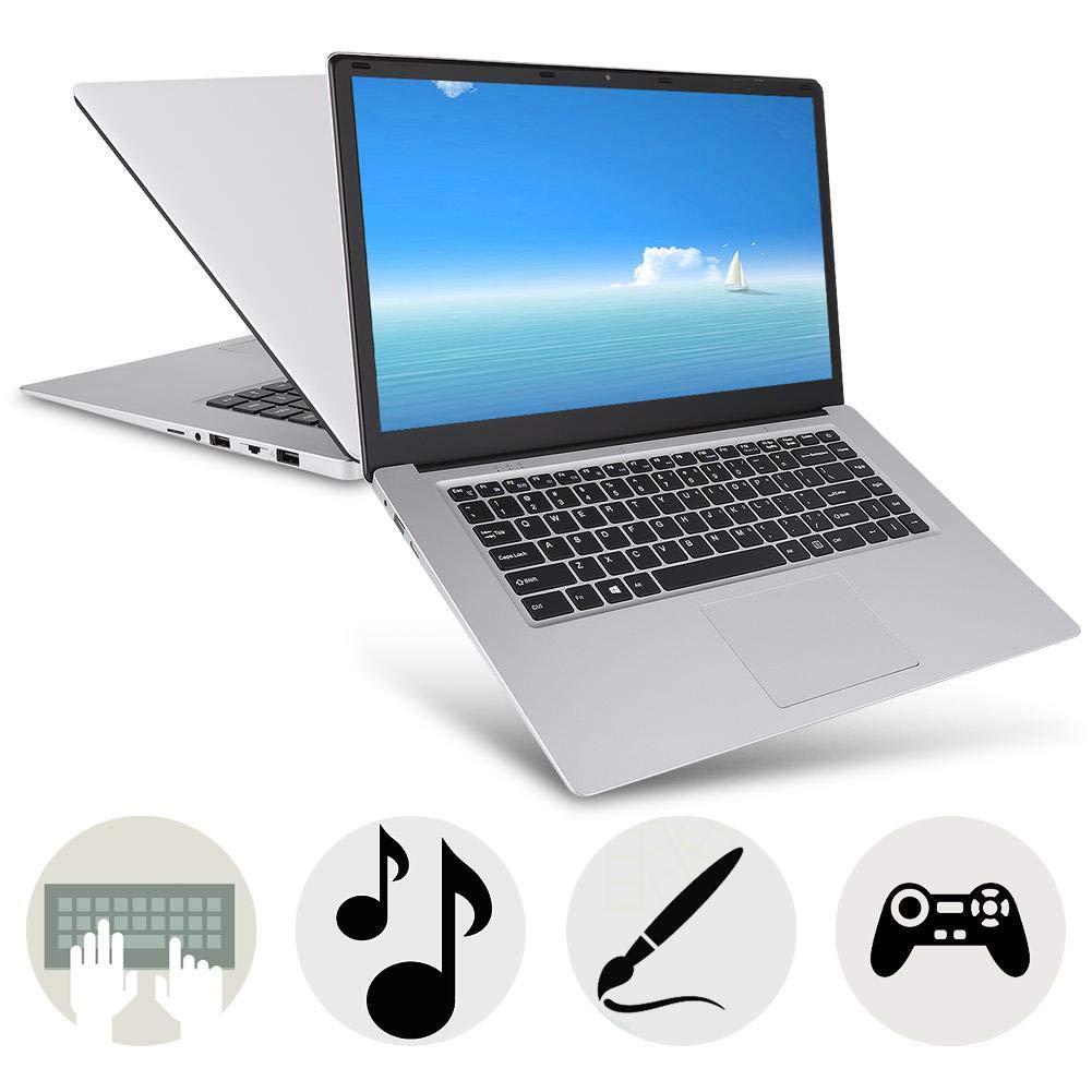 ASHATA Laptop 15.6 Pulgadas para Intel Celeron N3350, Pantalla IPS de 15.6 Pulgadas 6 + 64GB 1920 x 1080 Computadora, Mini USB HD Bluetooth WiFi Pocket Laptop Notebook 100-240V(Plata): Amazon.es: Electrónica