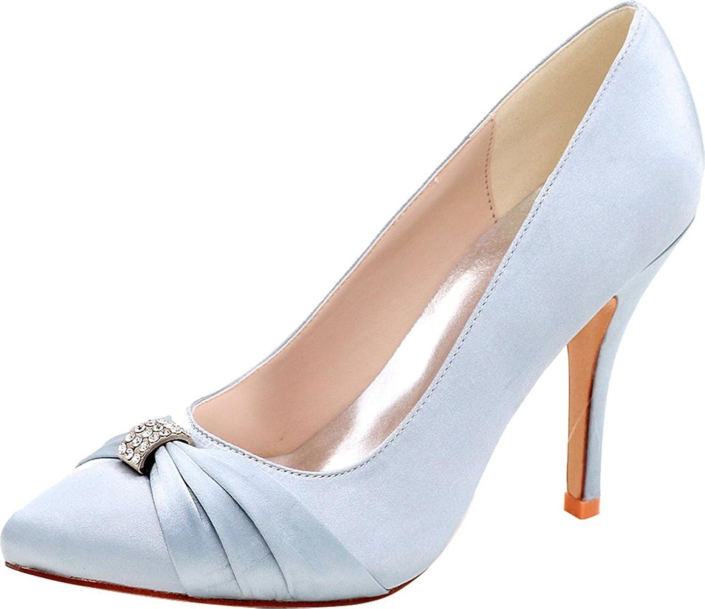 Salabobo 0255-18 Womens OL Bride Comfort Work Wedding Job Nightclub Pointed Toe Rhinestone Heeled Satin Pumps