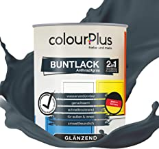 colourPlus 2in1 Buntlack 750ml, RAL 7016 Anthrazitgrau glänzender Acryllack - Lack für Kinderspielzeug - Farbe für Holz - Holzfarbe Innen - Made in Germany