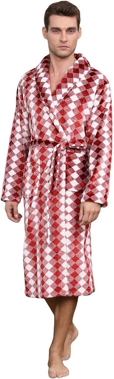 Anna King Men's Luxurious Robe - Shawl Collar Soft Fleece Plush Spa Bathrobe
