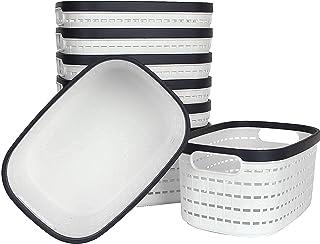 8 PCS Panier de Rangement en Plastique PP Tissé, Boîte de Rangement, Bac de Rangement pour Cuisine, Salle de Bain, Chambre...
