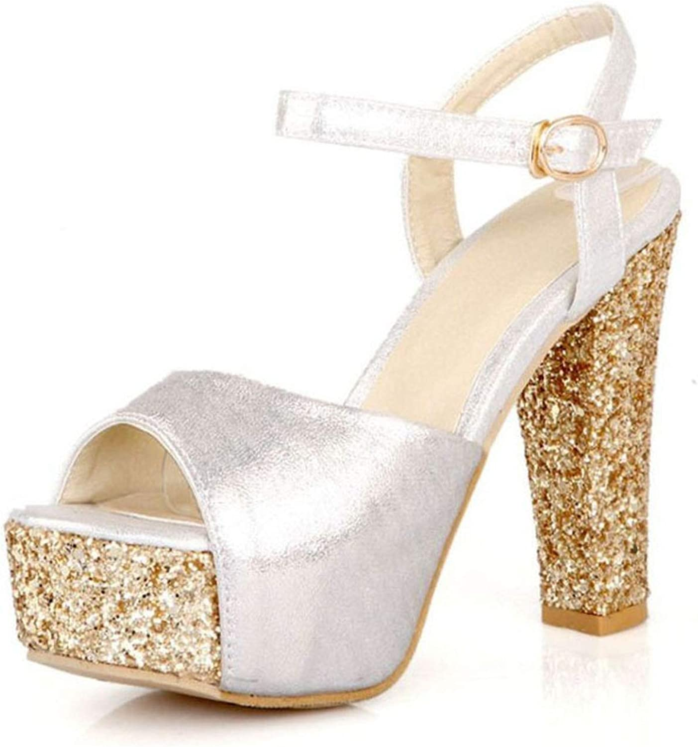 Sexy Bling Sandals Ankle Strap Platform Glitters High Heels Summer shoes Party Wedding Footwear