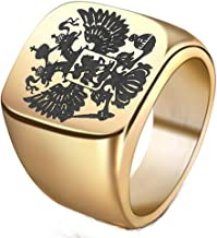 YABINI Mens Big Square Face Double-Headed Eagle Russian National Signet Rings in Stainless Steel