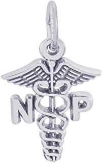 Sterling Silver Nurse Practitioner Charm (15.5 x 13.5 mm)