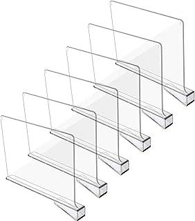 AMZYY 6 Pièces Diviseurs D'étagère de Placard Panneau de Séparation de Garde-Robe Diviseur D'étagère Acrylique Cloison Tra...