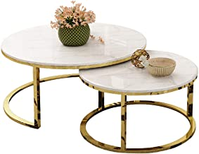 HTTXCJ Tempered Glass Top Round Side Tea Coffee Table Sets Living Room Elegant Stacking Nesting End Table Laptop Desk Crea...